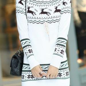 Long-sleeved round neck knit sweater AX091003ax