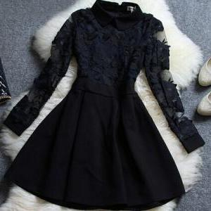 Vintage Lace Long-Sleeved Dress AX5..