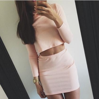SLIM LONG-SLEEVED TWO-PIECE DRESS