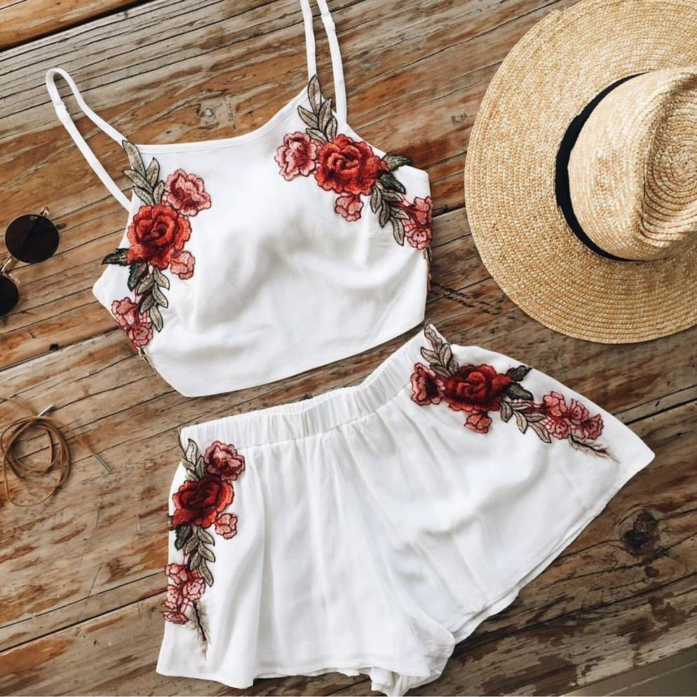 Fashion White Embroidery Two-Piece Set