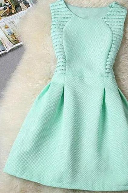 Fashion Round Neck Solid Color Dress
