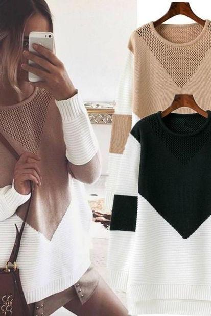 Fashion Long-Sleeved Knit Sweater Top