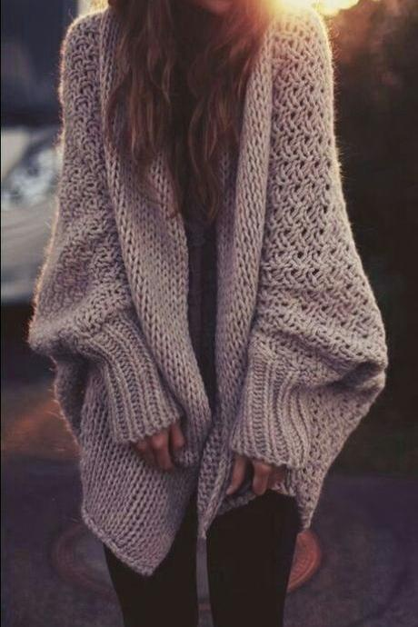 Knitting loose cardigan sweater