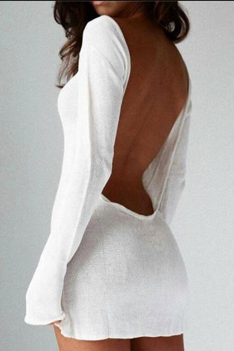 Sexy Long Sleeve Backless White Mini Dress