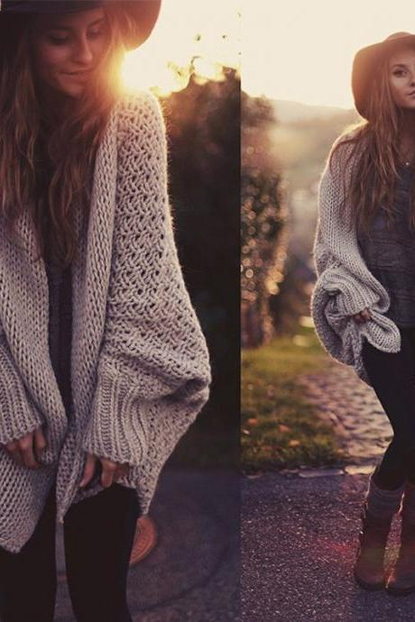 LOOSE BAT SLEEVE SWEATER JACKET
