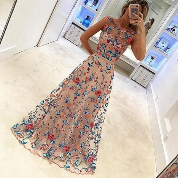 Fashion Embroidery Flower Sleeveless Dress