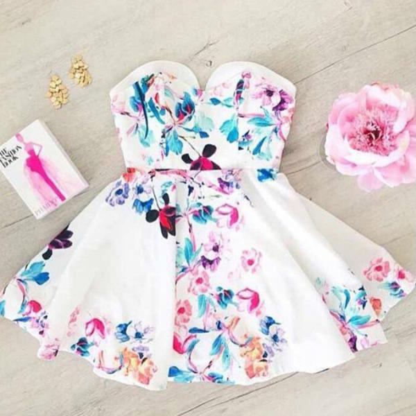Sweet white print dress AX5603ax