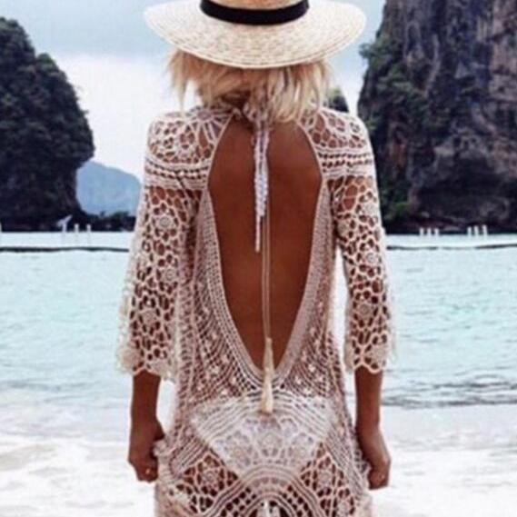 Sexy White Beachwear Lace Dress